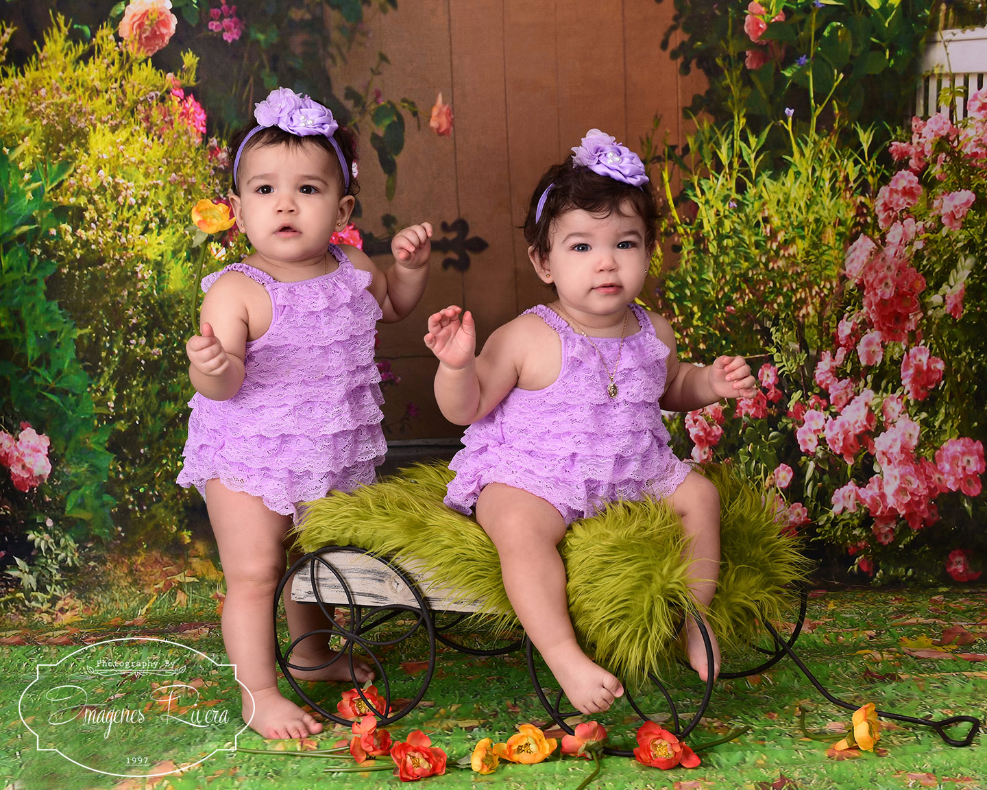 ♥ One year old twins baby portrait studio|Miami children photographer ♥